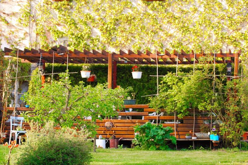 Rozlehlá zahrada penzionu pro skvělou relaxační dovolenou - ubytování Lipno